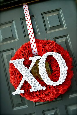 #valentine wreath spiral paper flower rose idea