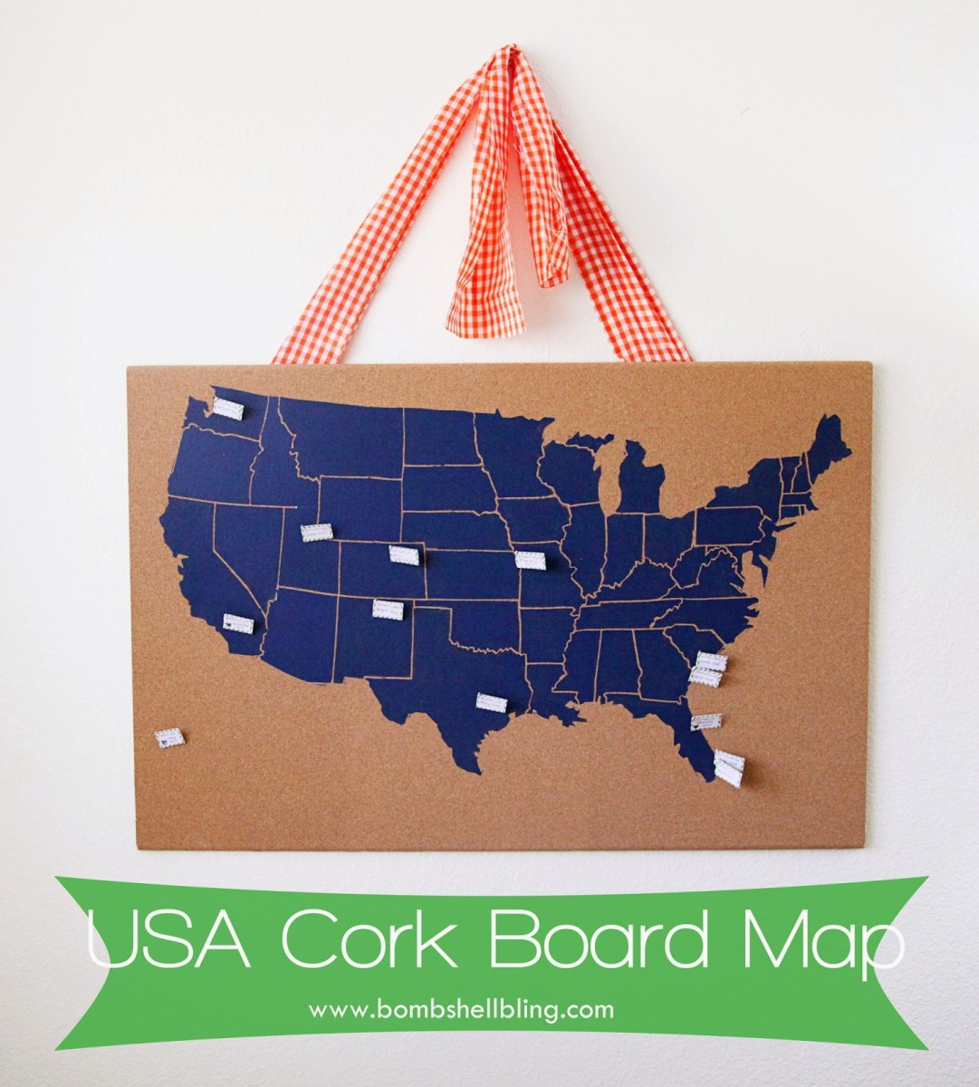 USA Cork Board Map