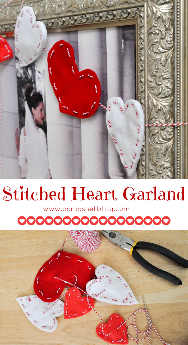 Stitched Heart Garland by Bombshell Bling