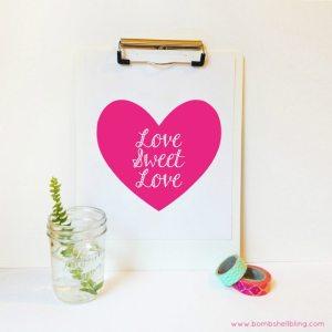 Love Sweet Love Printable in Pink