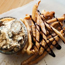 Funnel Cake French Fries with S'mores Dip