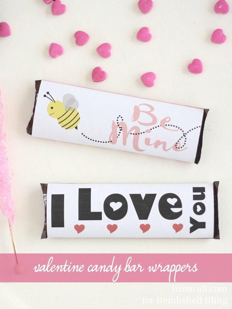 http://www.bombshellbling.com/printable-valentine-candy-bar-wrappers/