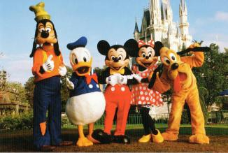 Disney characters outside Disney castle