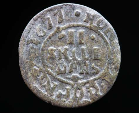 2 skilling 1677, Christian V
