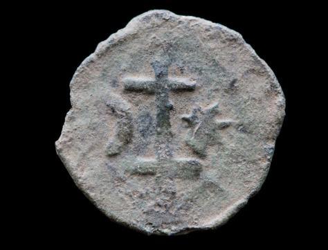 Borgerkrigsmønt med dobbelt kors, stjerne og måne