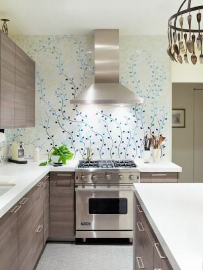 8 Creative ways of using wallpapers in Kitchen - Bonito Designs