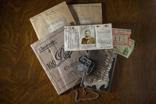 """Ernest Hemingway: Between Two Wars,""  an exhibit at New York City's Morgan Library, includes items ranging from the author's dog  tags to original manuscript pages.      John F. Kennedy Presidential Library and Museum /The Morgan Library & Museum"