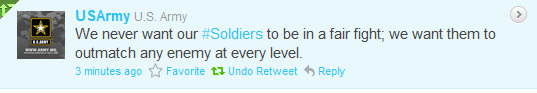 On November 7, 2011, the Army sent out a tweet.  It forgot to tell anyone that the Obama ROE's made this tweet a lie.