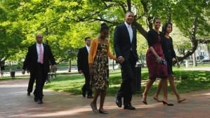 Secret service guarding Obamas