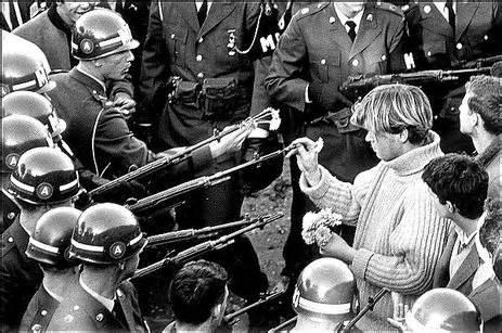 Hippie puts flower in gun