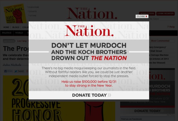 """The Nation"" uses its Koch brother paranoia to fuel a fundraising drive"