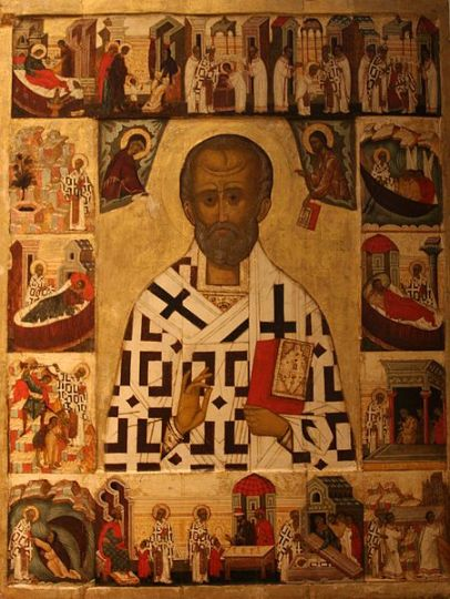 Russian icon depicting St Nicholas with scenes from his life. Late 1400s or early 1500s. National Museum, Stockholm.