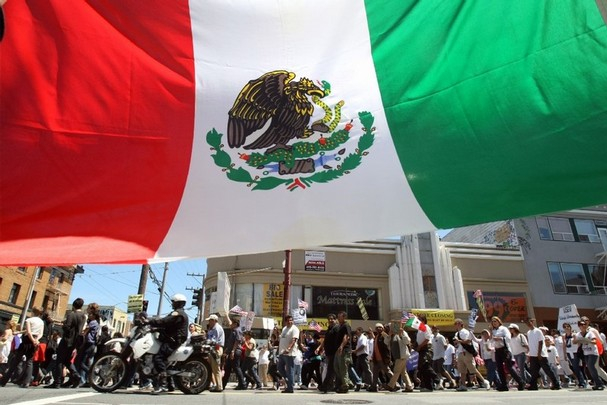 Mexican flag at immigration rally