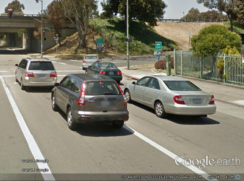 Google Earth picture of 27th and Northgate WB Oakland