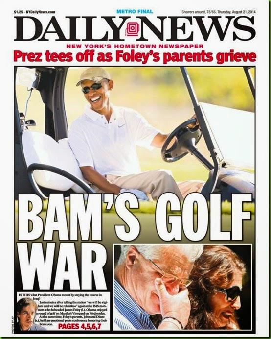 Obama golfs while Foleys grieve