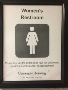 Restroom sign Appalachian State University