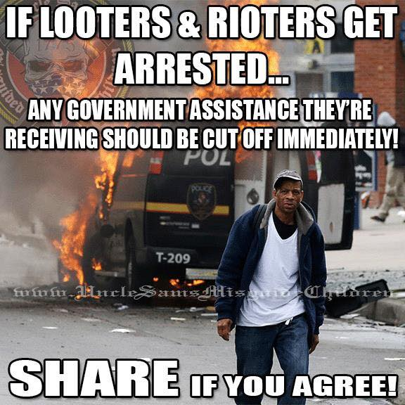 Taking welfare from looters