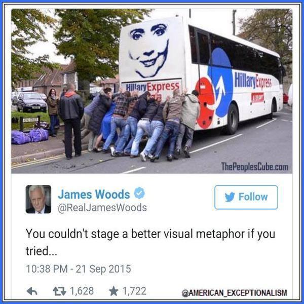 Hillary's bus breaks down