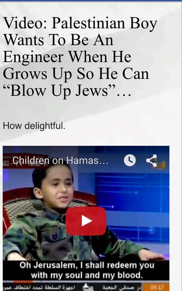Muslim boy wants to blow up Jews