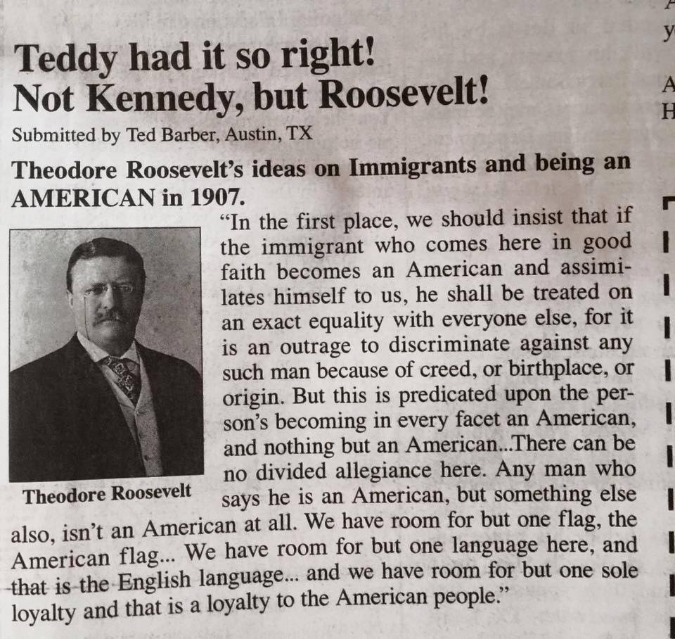 Roosevelt on immigrants