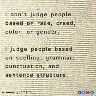 Judging people on grammar