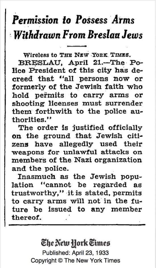 Nazis immediately disarmed Breslau Jews