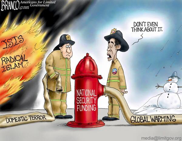 Obama funds warming not terrorism