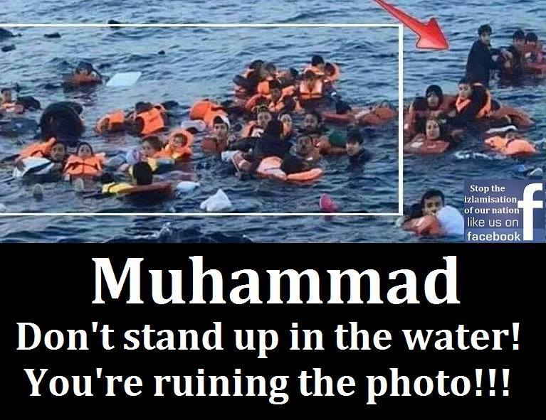 Muhammed ruins photo standing in water