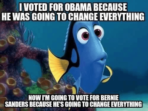 Dorie the fish votes for whichever candidate promises to change everything