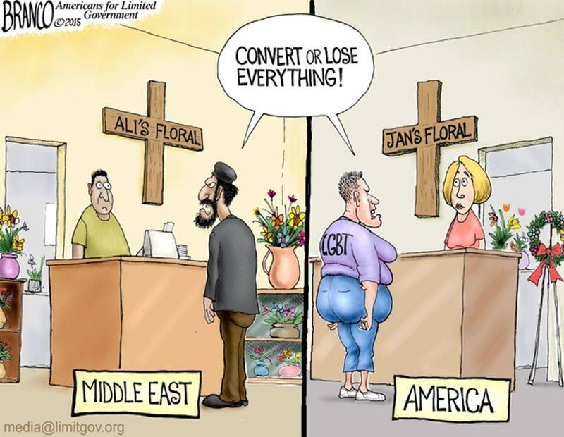 LGBT and Muslim pressure on Christians