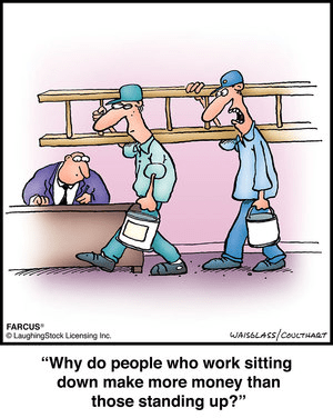 Sitting workers make more money than standing