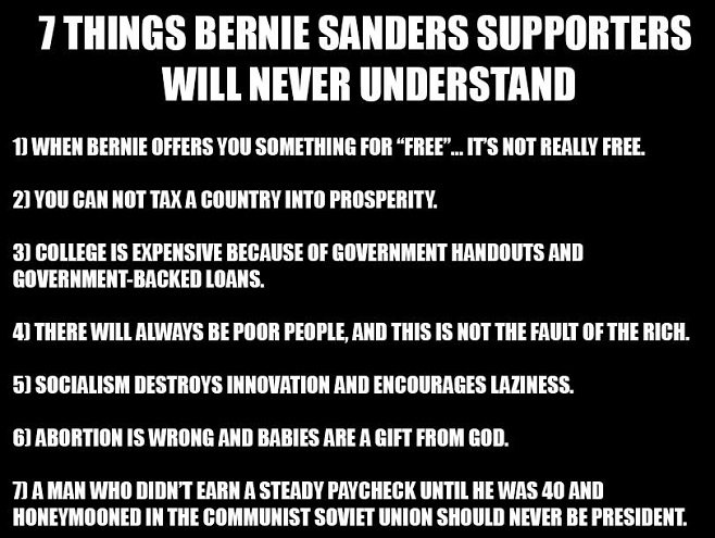 Things Bernie supports will never understand