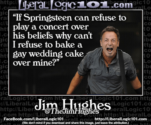 Stupid liberals Bruce Springsteen baking cakes