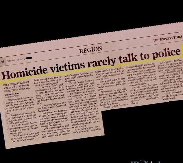 Silly talking homicide victims