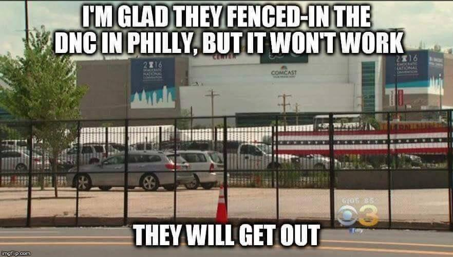 Democrats fence at DNC keeps them in