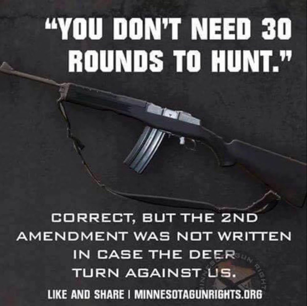 Guns second amendment not to protect against deer