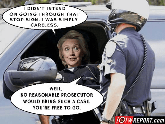 Hillary extremely careless no ticket for red light running