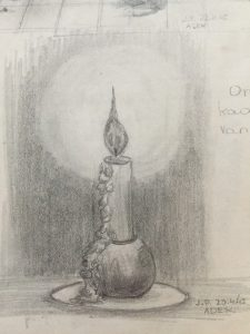 Mom's sketch of a candle in Adek, April 23, 1945