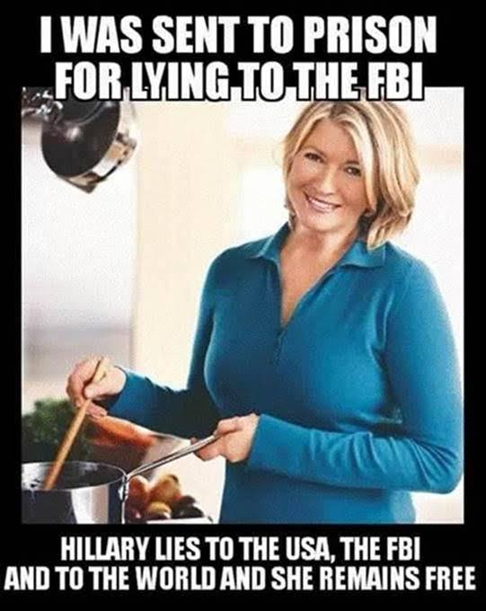 Hillary free Martha Stewart prison