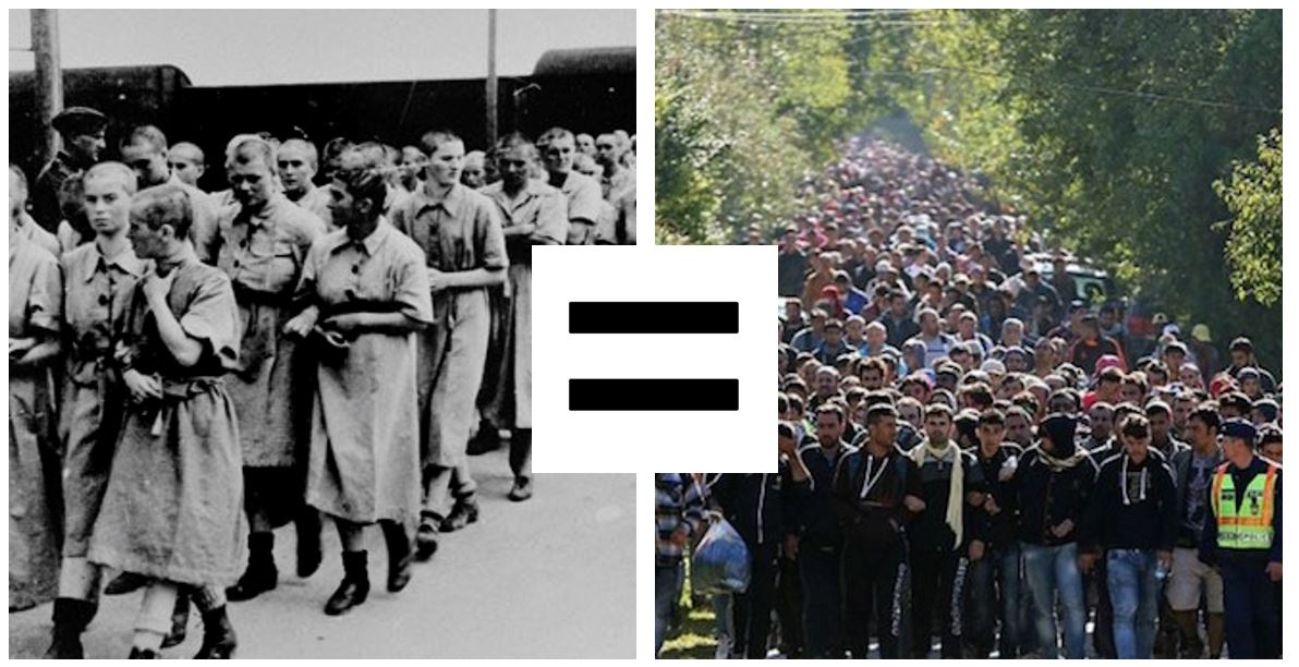 Progressives claim that the civilians who were worked to death or killed in the death camps are the same as Muslim refugees.