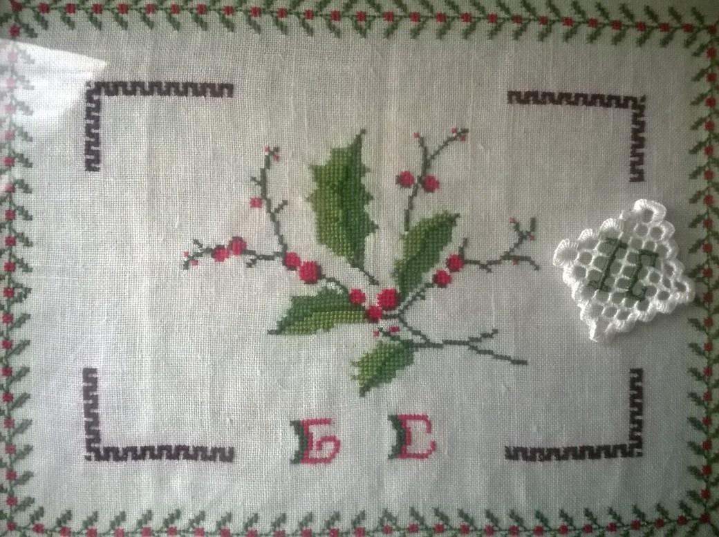 Cuadro de navidad con rama de acebo