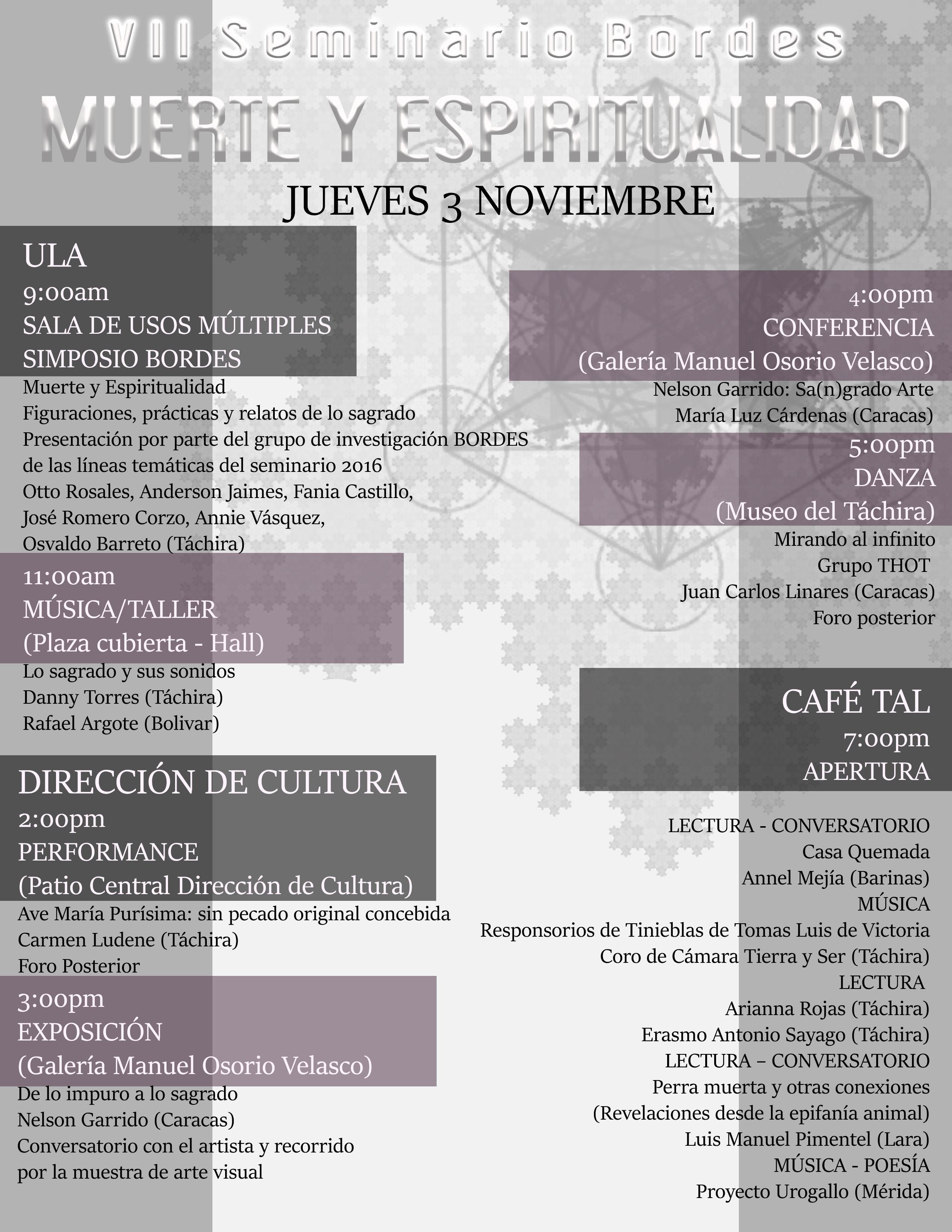 Expresiones artísticas y conferencias sobre la muerte y espiritualidad marcan VII Seminario Bordes