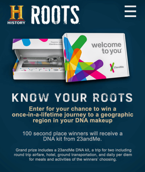 Know Your Roots Sweepstakes