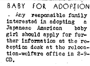 Adoption Classifieds Ad in the 40's