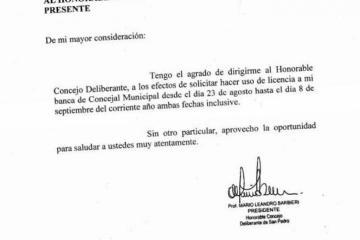 Barbieri pidió licencia en el HCD y hay dudas sobre su presentación ante la justicia