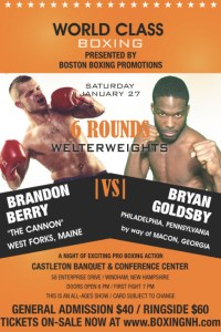 Boxing Berry Goldsby January NH Windham ME West Forks tickets event Cove Hampton