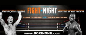 Boxing Windham NH November 21 Thanksgiving Eve Derry Quincy MA Castleton fights tickets event