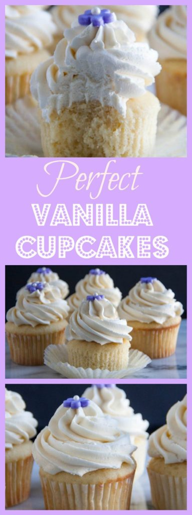 Perfect vanilla cupcakes topped off with the fluffiest vanilla buttercream frosting
