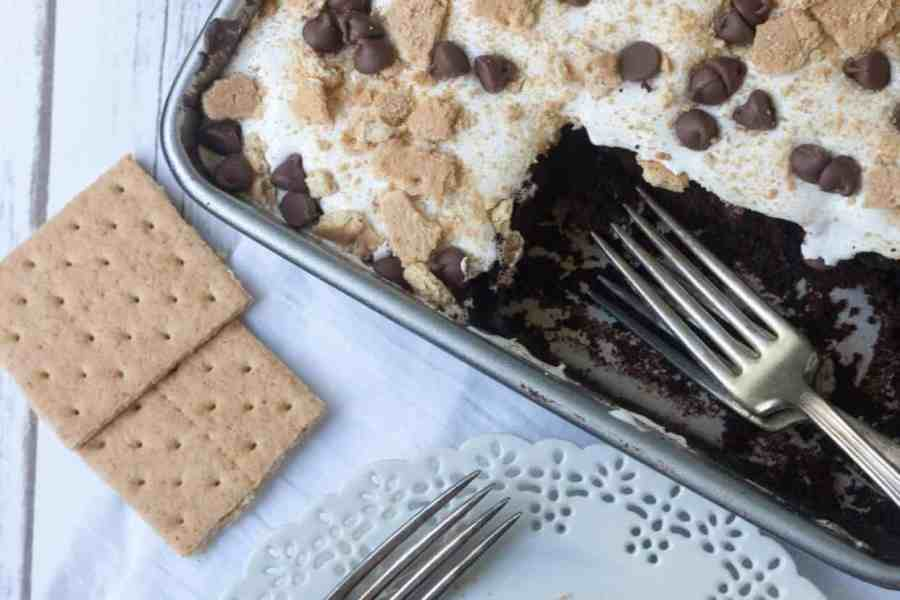 S'mores Chocolate Poke Cake