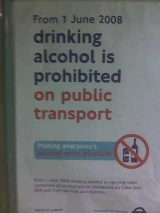 london underground alcohol drinking